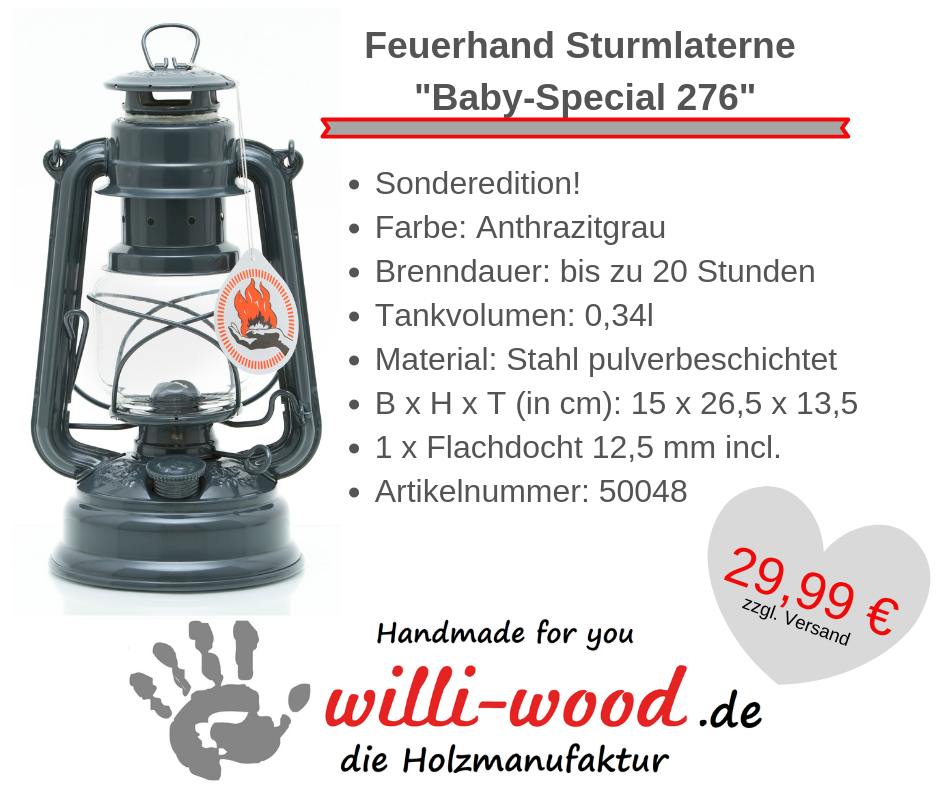 Feuerhand Sturmlaterne Baby-Special 276 Anthrazitgrau von Willi-Wood!