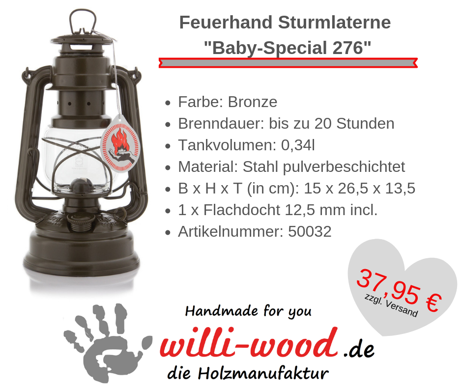 Feuerhand Sturmlaterne Baby-Special 276 Bronze von Willi-Wood!