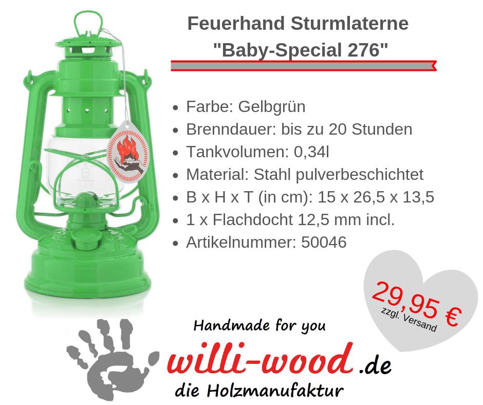 Feuerhand Sturmlaterne Baby-Special 276 Gelbgrün von Willi-Wood!