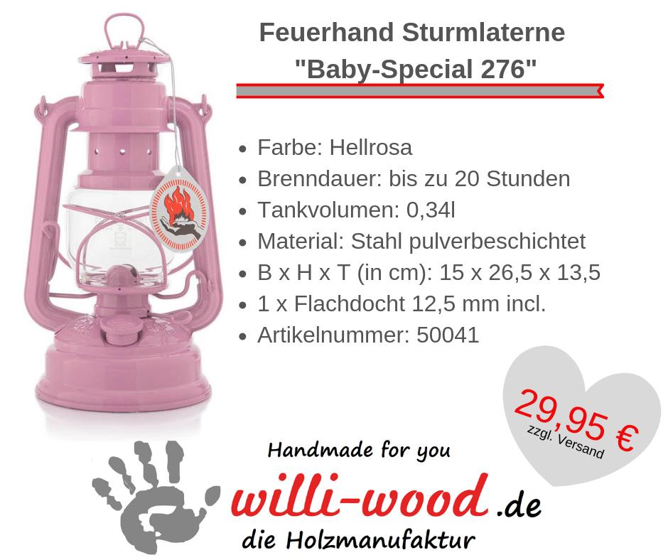 Feuerhand Sturmlaterne Baby-Special 276 Hellrosa von Willi-Wood!
