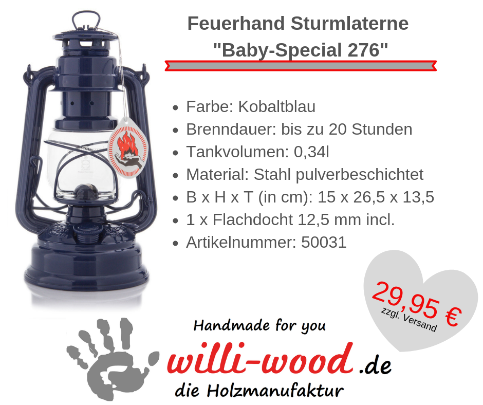 Feuerhand Sturmlaterne Baby-Special 276 Kobaltblau von Willi-Wood!