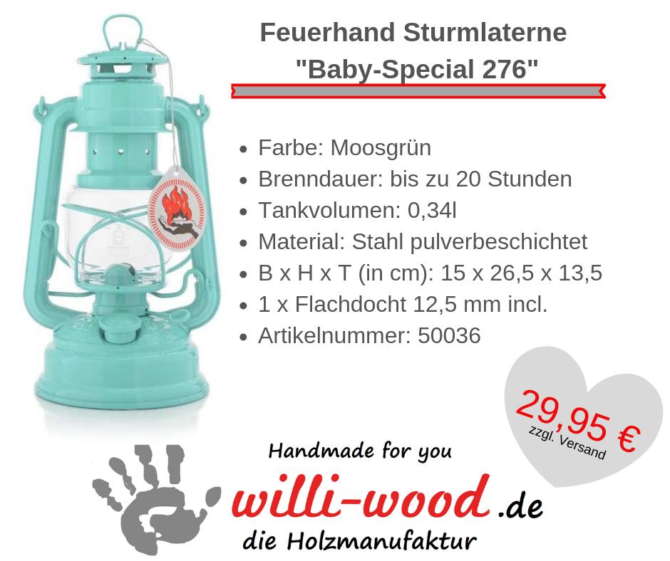 Feuerhand Sturmlaterne Baby-Special 276 Lichtgrün von Willi-Wood!