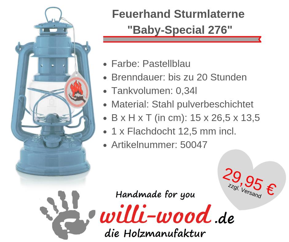 Feuerhand Sturmlaterne Baby-Special 276 Pastellblau von Willi-Wood!