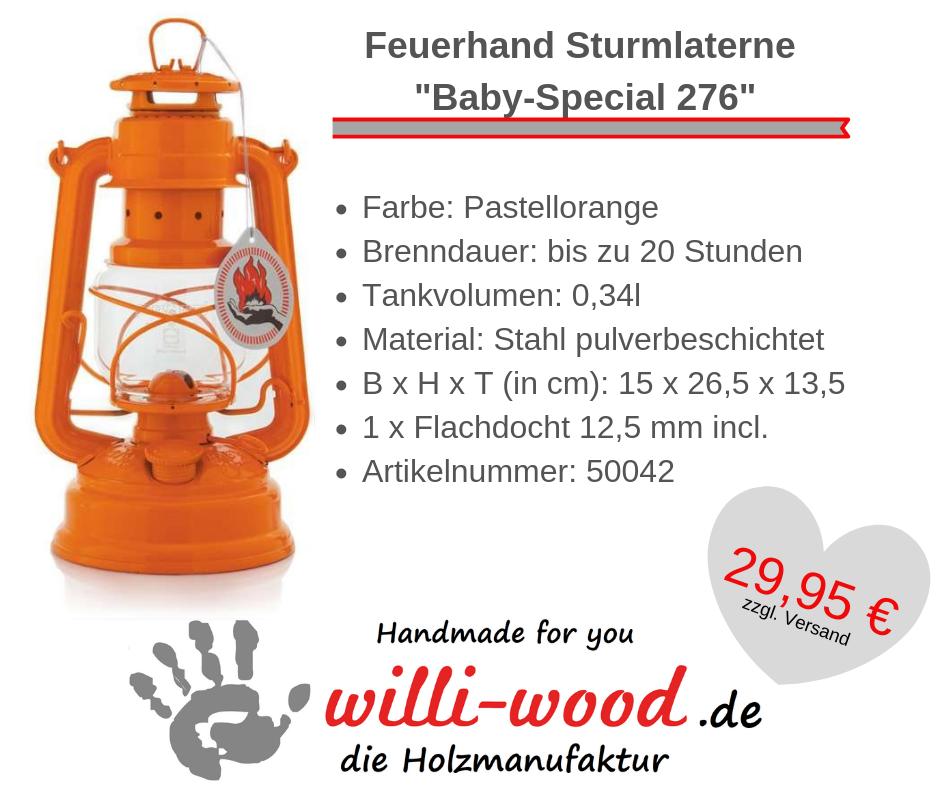 Feuerhand Sturmlaterne Baby-Special 276 Pastellorange von Willi-Wood!