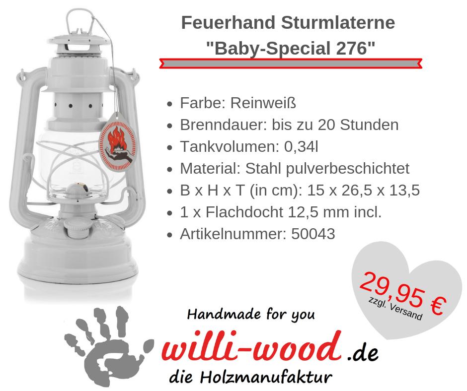 Feuerhand Sturmlaterne Baby-Special 276 Reinweiß von Willi-Wood!