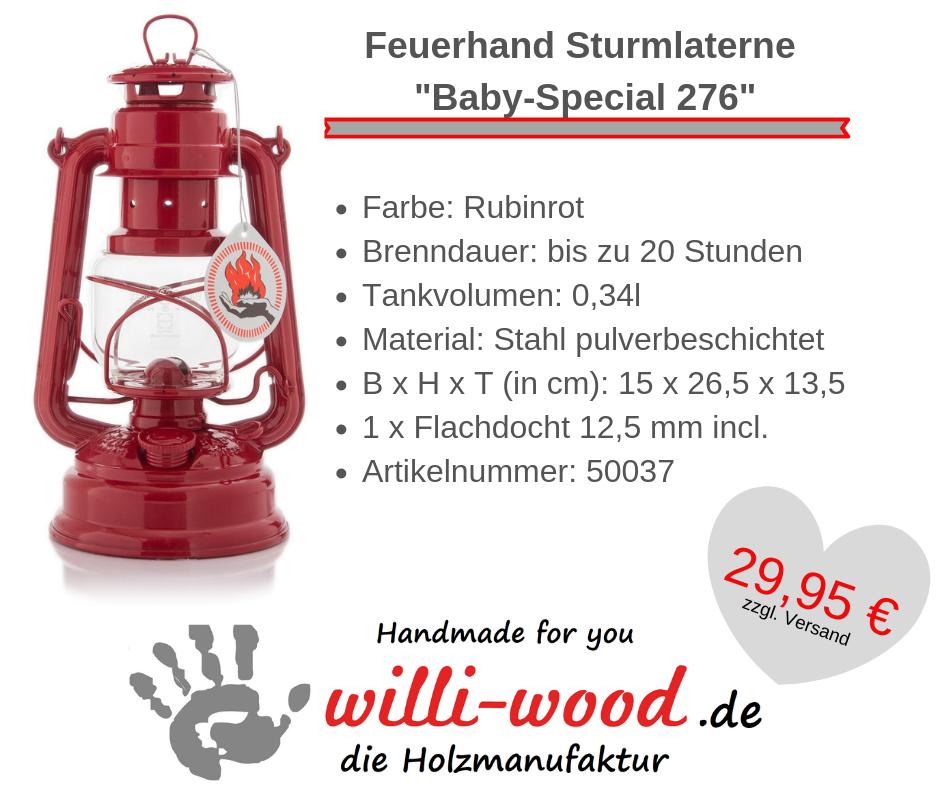 Feuerhand Sturmlaterne Baby-Special 276 Rubinrot von Willi-Wood!
