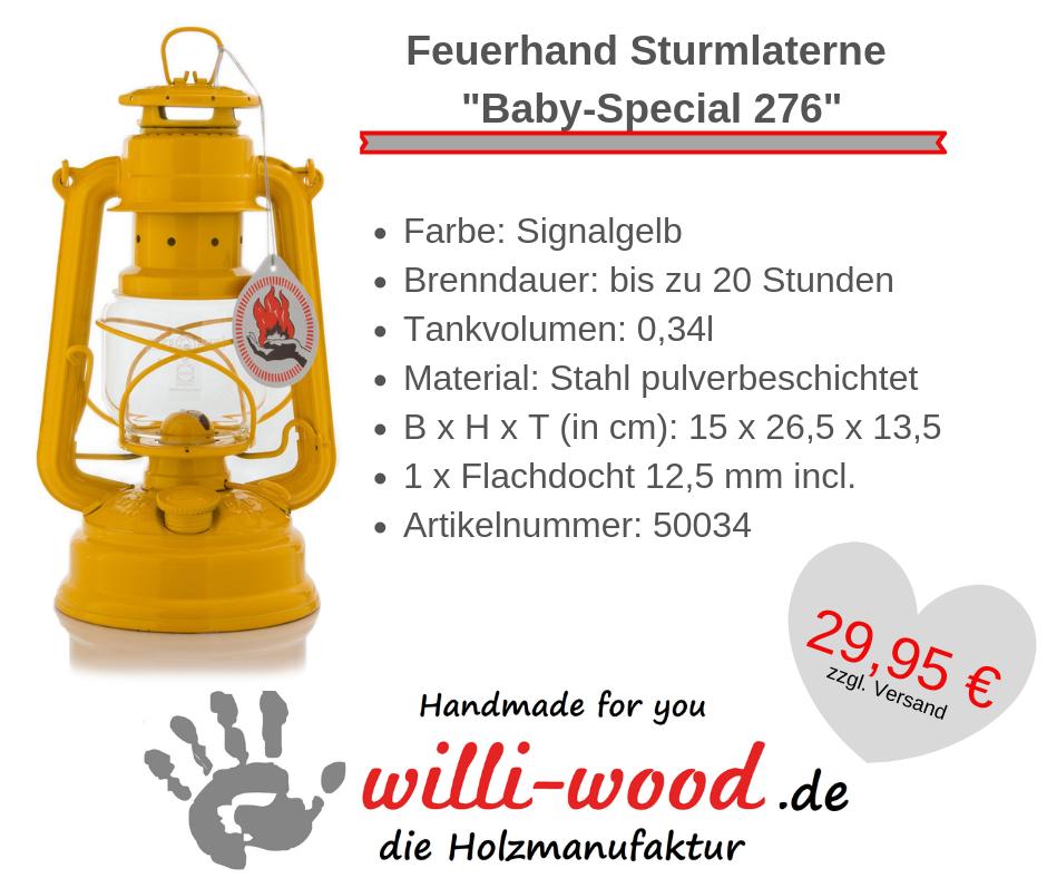 Feuerhand Sturmlaterne Baby-Special 276 Signalgelb von Willi-Wood!