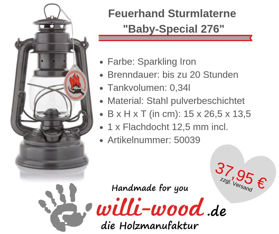 Feuerhand Sturmlaterne Baby-Special 276 Sparkling Iron von Willi-Wood!