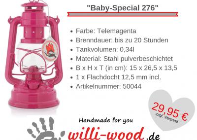 Feuerhand Sturmlaterne Baby-Special 276 Telemagenta von Willi-Wood!