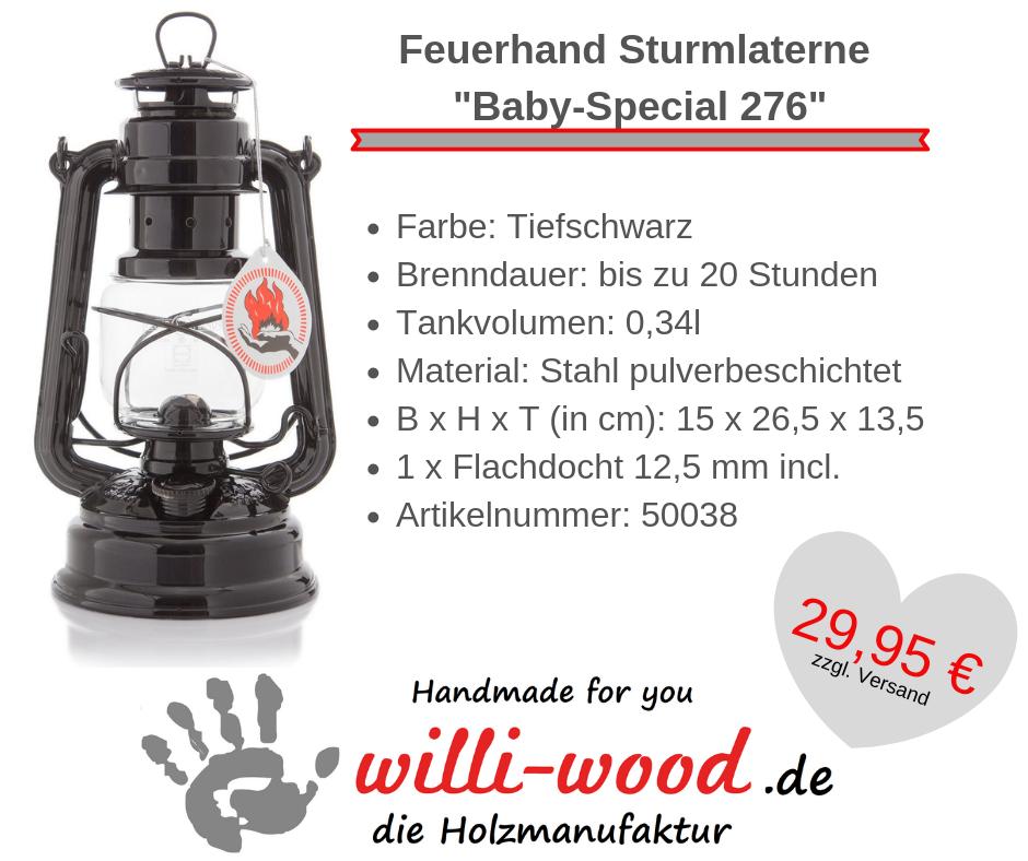 Feuerhand Sturmlaterne Baby-Special 276 Tiefschwarz von Willi-Wood!