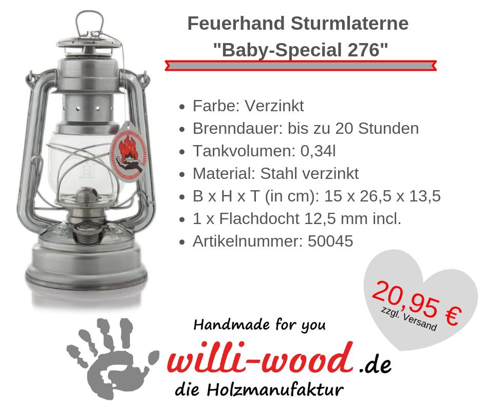Feuerhand Sturmlaterne Baby-Special 276 Verzinkt von Willi-Wood!